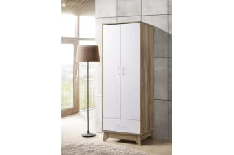 2 Door Wardrobe w/ Drawer Shelf Storage Cabinet Scandinavian - Oak