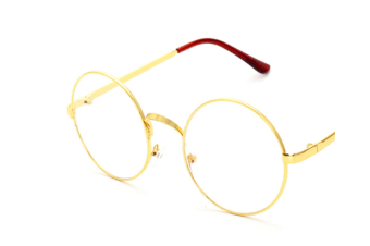 High Fashion Round Clear Lens Metal Frame Glasses Gold