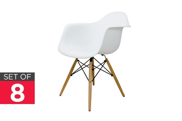 Ovela Set of 8 Eiffel DAW Dining Armchairs - Eames Replica (White)