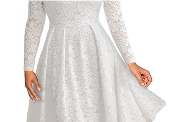 Women'S Cocktail Floral Lace Off Shoulder Evening Party Dress White 3Xl Long Sleeve