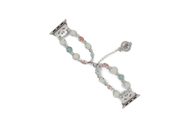 Unique Handmade Luminous Pearl Iwatch Bracelet Link Adjustable Clasp Wristband Silver 44Mm