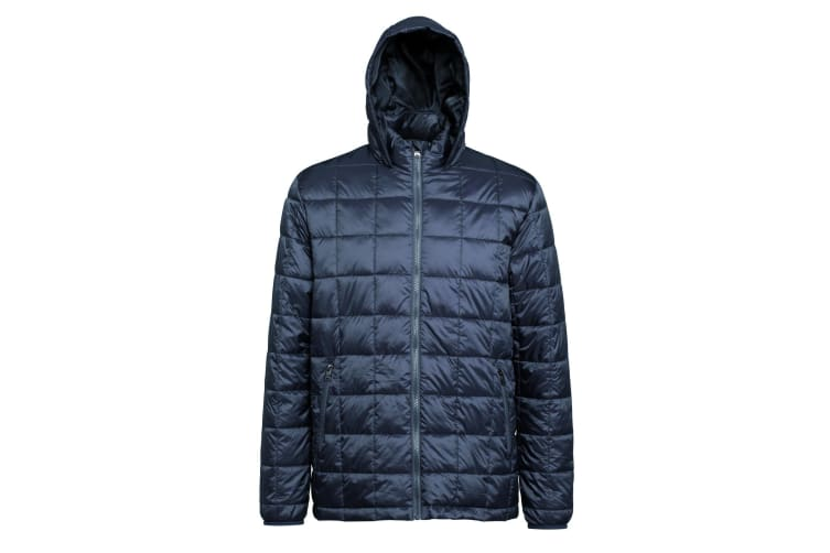 2786 Mens Box Quilt Hooded Zip Up Jacket (Steel) (2XL)