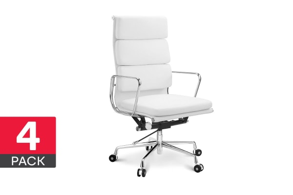 4 Pack Ergolux Executive Eames Replica High Back Padded Office Chair (White)