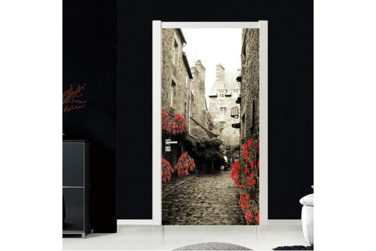 3D Street House Flower Door Mural Woven paper (need glue), L 205cm x 77cm (HxW)(81''x30'')