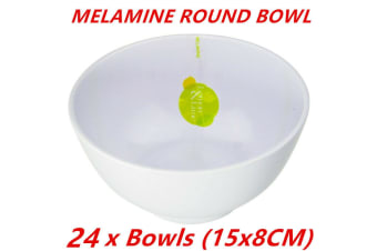 24 x White Melamine Round Rice Bowls 15x8cm Serving Catering Dinner Dessert Bowl