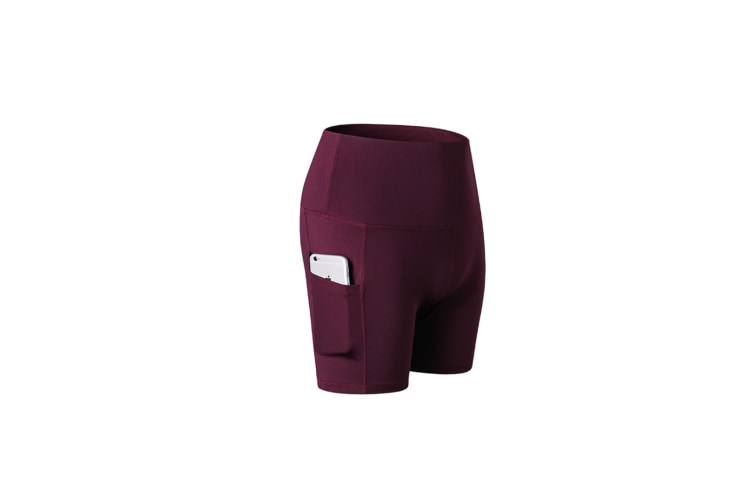 Women'S Shorts High Waist Workout Yoga Shorts Tummy Control Shorts Side Pocket - Wine Red Red XL