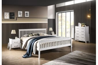 Double Timber Bed Frame Wooden Slatted White