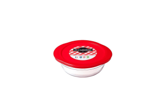 Ocuisine Glass Round Dish With Lid (Red) (0.35L)