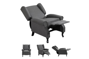 Modern Fabric Recliner Chair Lounge Single Sofa Deep Grey