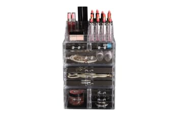 Cosmetic 7/8//9/10/11 Drawer Makeup Organizer Storage Jewellery Box Acrylic  -  10 Drawers(B)