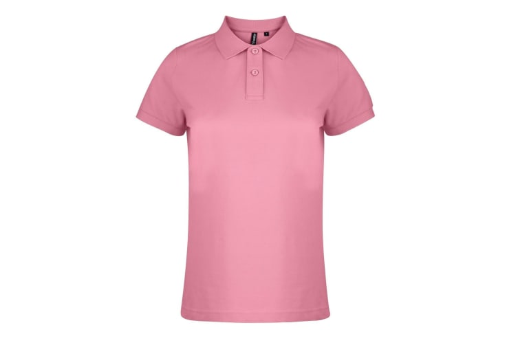 Asquith & Fox Womens/Ladies Plain Short Sleeve Polo Shirt (Pink Carnation) (M)