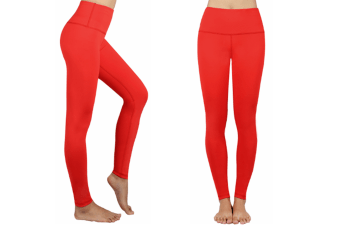 Women'S Yoga Capris Power Flex Running Pants Workout Leggings Red L