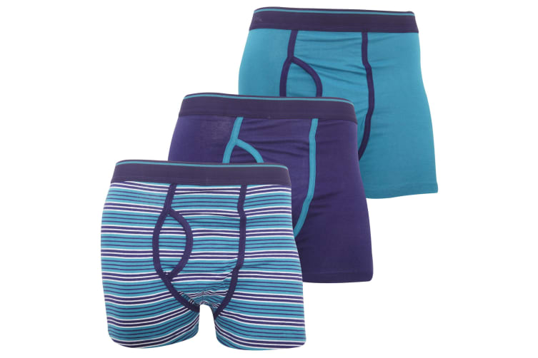 FLOSO Mens Cotton Mix Key Hole Trunks Underwear (Pack Of 3) (Teal) (Small (Waist: 30-32inch  76-81cm))