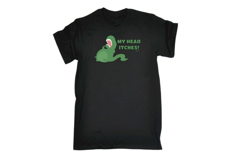 123T Funny Tee - My Head Itches - (3X-Large Black Mens T Shirt)