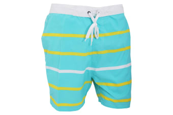 Mens Striped Lined Summer Swim Shorts (Turquoise/Yellow) (XX-Large)