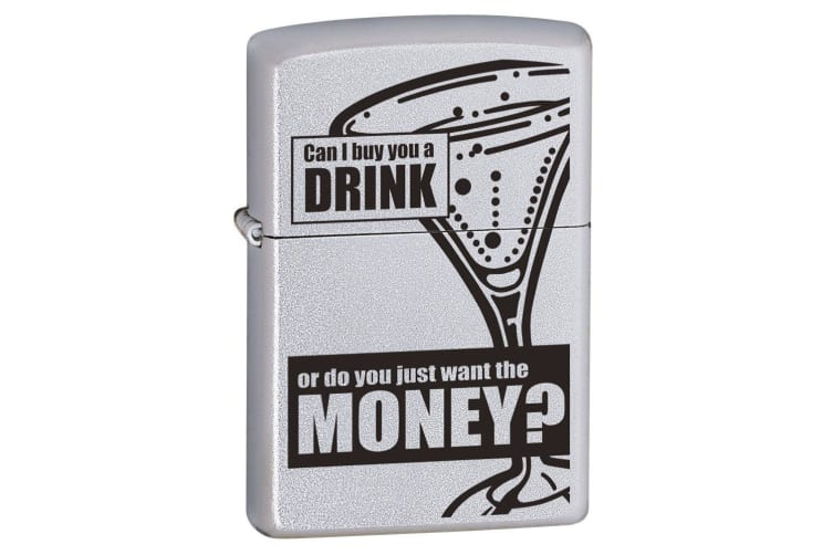 Zippo Can I Buy You A Drink Genuine Satin Chrome Cigar Cigarette Lighter