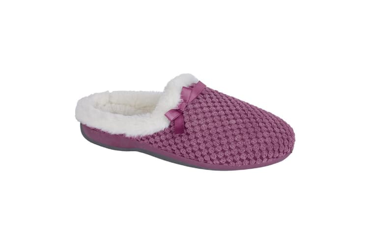 Zedzzz Womens/Ladies Kerri Velour Geometric Fluffy Slippers (Pink) (8 UK)