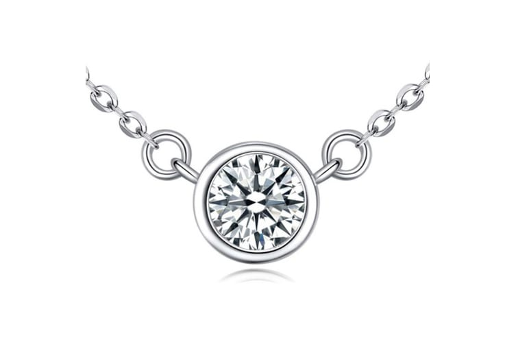.925 Precision-Cut Bezel Necklace-Silver/Clear