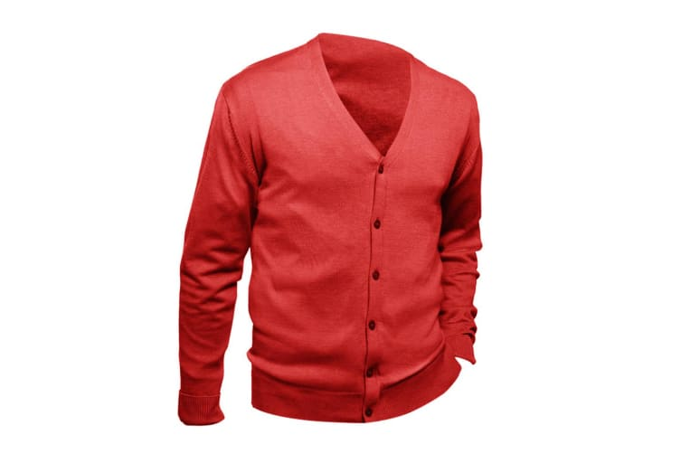 SOLS Mens Golden V Neck Cardigan (Red) (M)