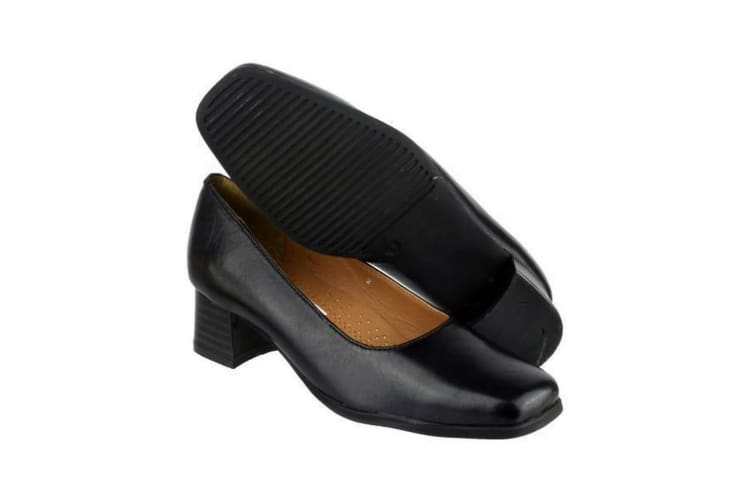 Amblers Walford Ladies Leather Court / Womens Shoes (Black) (5.5 UK)