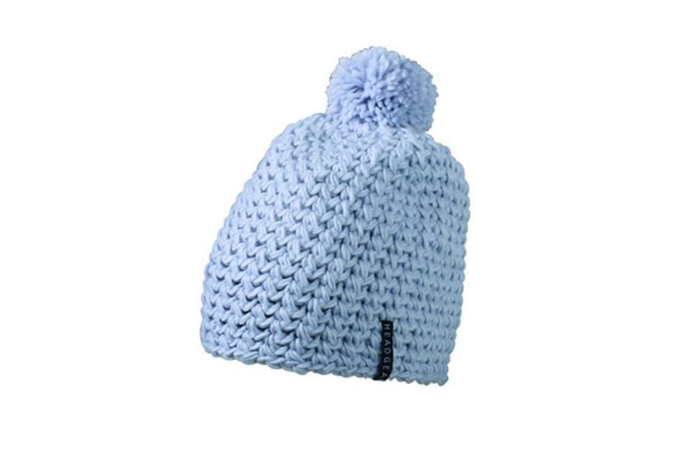 Myrtle Beach Adults Unisex Unicoloured Crocheted Cap With Pompom (Silver) (One Size)