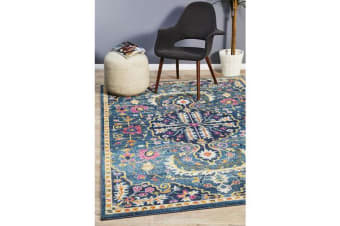 Navy & Multi Wreath Vintage Look Rug 290X200cm