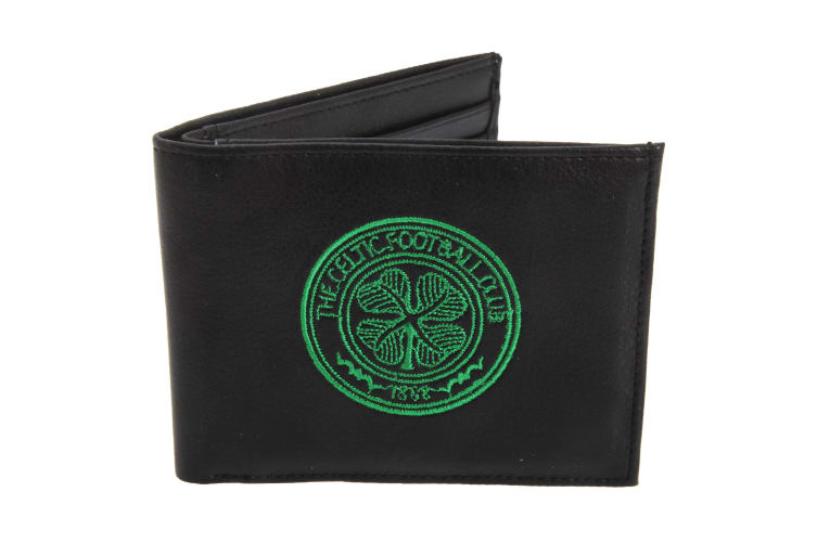 Celtic FC Mens Official Leather Wallet With Embroidered Football Crest (Black) (One Size)