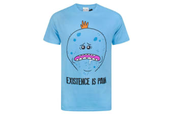 Rick And Morty Mens Meeseeks Existence Is Pain T-Shirt (Blue)