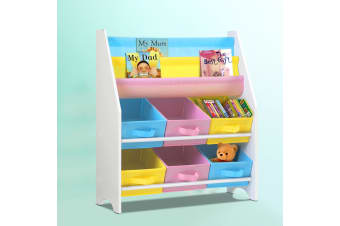 Artiss Kids Bookshelf Toy Storage Organizer Bookcase 2 Tiers Display Shelf Rack