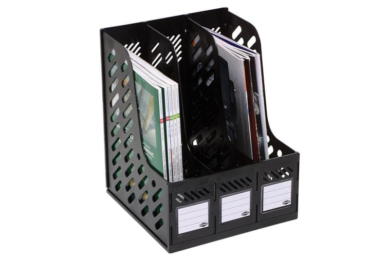 3PK Marbig Magazine/Papers/Documents 3 Section Rack/Organiser Home/Office Black
