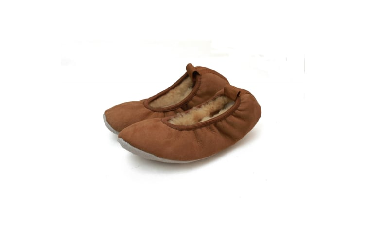 Eastern Counties Leather Womens/Ladies Sheepskin Lined Ballerina Slippers (Chestnut) (6-7 UK)