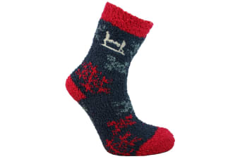 Help For Heroes Unisex Slipper Socks (Snowflake Navy/Rose)