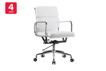 4 Pack Ergolux Executive Eames Replica Low Back Padded Office Chair (White)