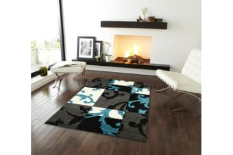 Squares and Vines Rug Charcoal Blue