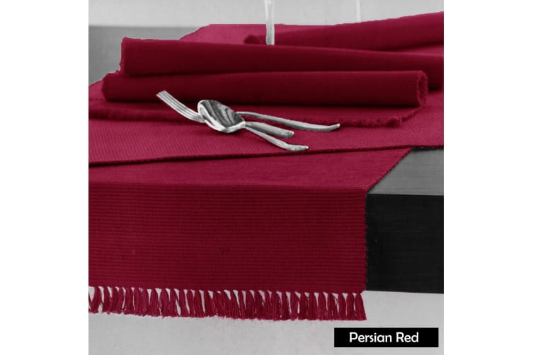 Cotton Ribbed Table Runner 45cm x 200cm - PERSIAN RED