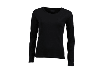James and Nicholson Womens/Ladies Long-Sleeved T-Shirt (Black) (S)