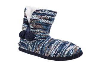 Divaz Womens/Ladies Vienna Knitted Bootsie Slippers (Blue) (Large)