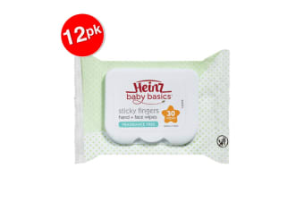 12x 30pc Heinz Baby Basics Sticky Fingers Kids Hand & Face Wipes Fragrance Free