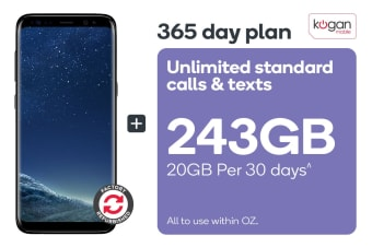 Samsung Galaxy S8 Refurbished (64GB, Midnight Black) + Kogan Mobile Prepaid Voucher Code: LARGE (365 Days | 20GB Per 30 Days)