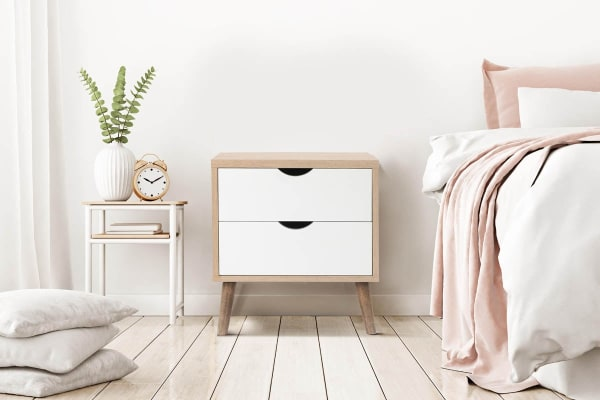 Shangri-La 2 Drawer Bedside Table - Nyhavn Collection (White & Oak)