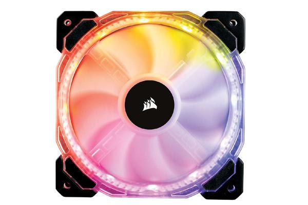 Corsair HD 140mm PWM RGB LED Fan. 12 independent RGB LEDs. High static pressure tuned for optimal air delivery.
