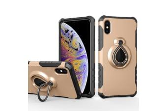 For iPhone XS Max Cover Drop-Proof Protective Ring Holder Mobile Phone Case Gold