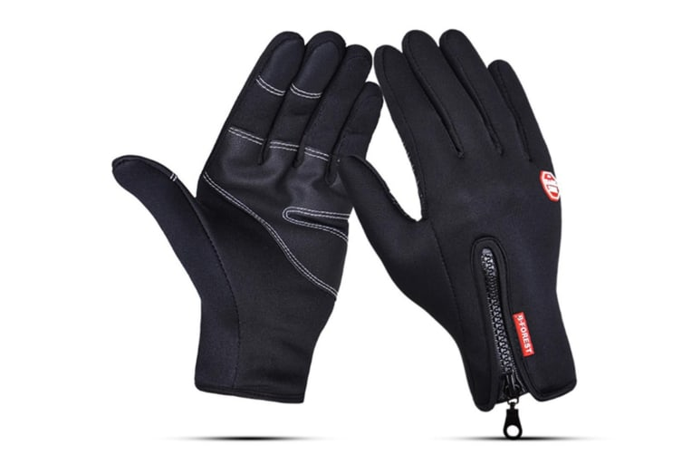 Outdoor Sport Gloves For Men And Women Skiing With Cold-Proof Touch Screen - 1 Black XL