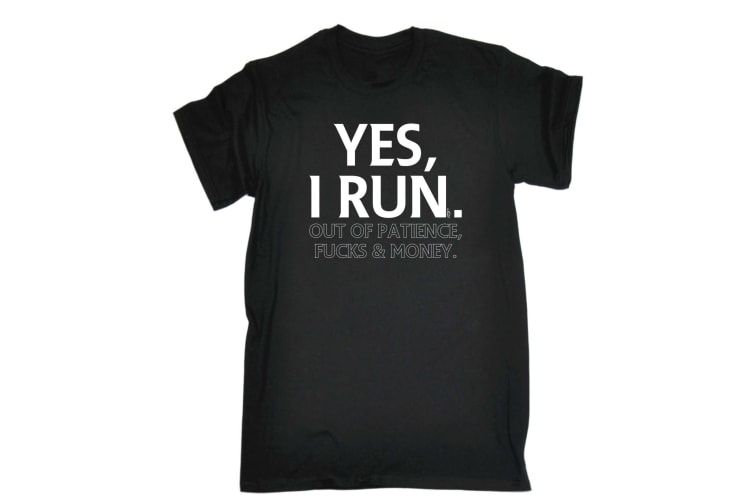 123T Funny Tee - Yes I Run Out Of Patience - (3X-Large Black Mens T Shirt)