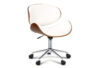 PU Leather Curved Office Chair (White)