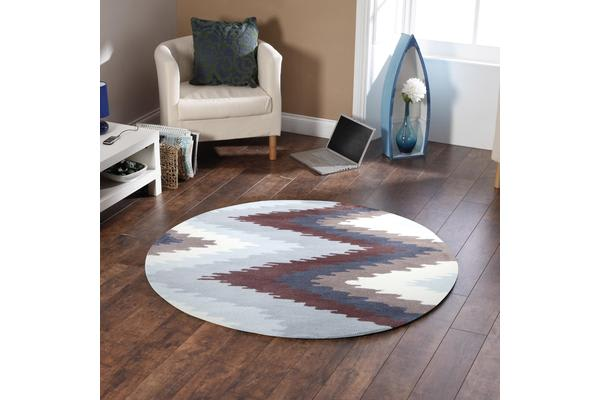Ikat Chevron Beige Brown Rug 150x150cm