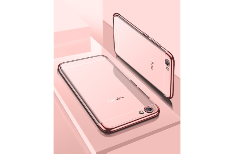 Three Section Of Electroplating Tpu Slim Transparent Phone Shell For Vivo Rose Gold Vivo Y55