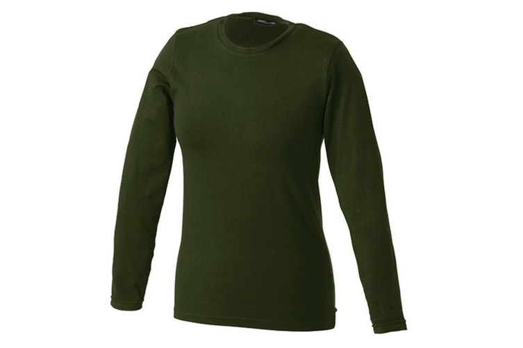 James and Nicholson Womens Long-Sleeved Tangy Tee (Olive Green) (M)