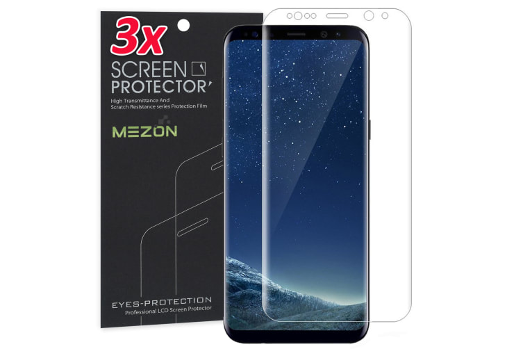 [3 Pack] Samsung Galaxy S8+ Ultra Clear Edge-to-Edge Full Coverage Screen Protector Film by MEZON – Case Friendly, Shock Absorption (S8+, Clear)