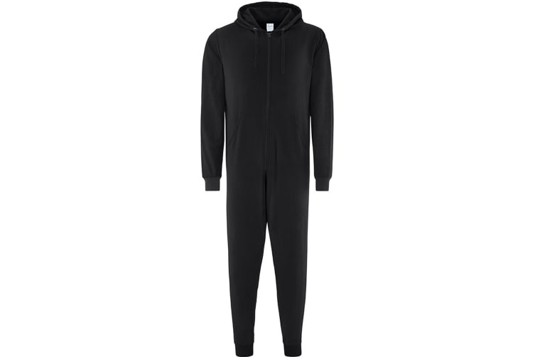 Comfy Co Adults Unisex Two Tone Contrast All-In-One Onesie (Black) (2XL)